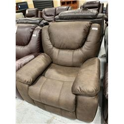 Cowhide Style Brown Leather Recliner