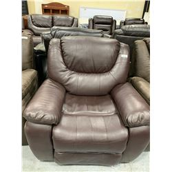 Floor Model Brown Leather Recliner ( damage scuff on seat back)