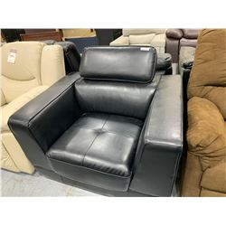 Euro Style Black Bonded Leather Chair with adjustable headrest