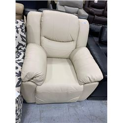 Bonded Leather Ivory over stuffed recliner