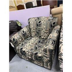 UpolsteredBlack  Tan Swirl Sofa Chair