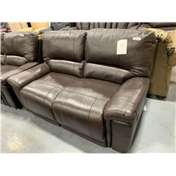 Brown Leather double seat reclining loveseat ( missing control)
