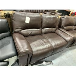 Brown Leather double seat reclining loveseat