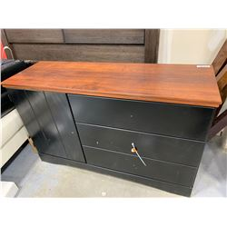 Black  Woodgrain triple dresser with side cupboard