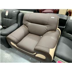 Brown  Tan Leather two tone Sofa Chair