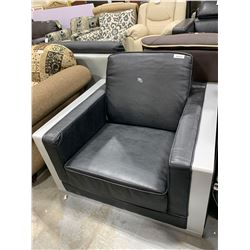 Black Leather and wood trim occasional chair ( scuffed on arm)
