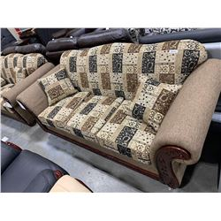 Earth Tone Paisley Print Round Arm with wood trim Sofa
