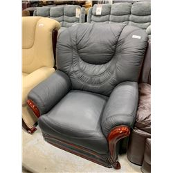 Black Leather Arm Chair with wood trim