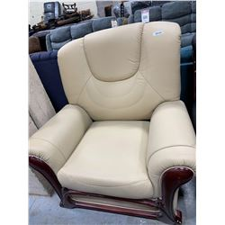Bonded Leather Ivory Arm chair with wood trim
