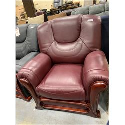 Burgundy Leather Over sized Arm Chair