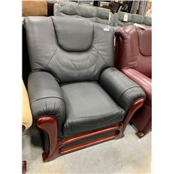 Black Bonded Leather Arm chair with wood trim