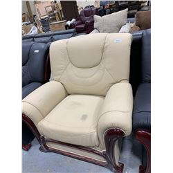 Cream Leather Arm Chair with wood trim ( scuff on seat)