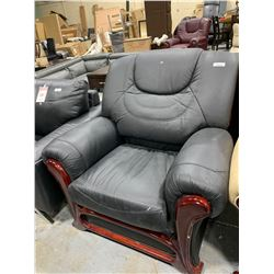 Black Leather Sofa Arm chair with wood trim