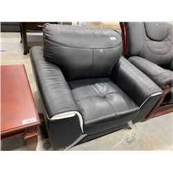 Euro Style Black  White Leather occasional chair