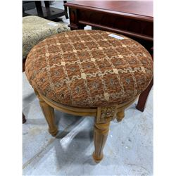 Upholstered Ottoman foot stool round brown