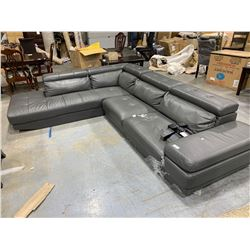 Gray Leather Sectional Sofa ( missing legs and has tear on seat seam) adjustable head rests