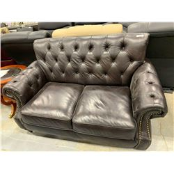 Provincial Style Leather Studded Loveseat ( missing one leg)