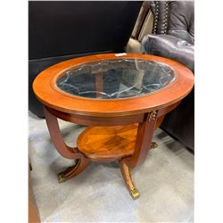 Duncan Fife Style Oval Coffee Table with Glass Inlay