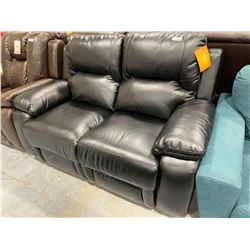 Cosmos Black Bonded Leather double seat reclining love seat