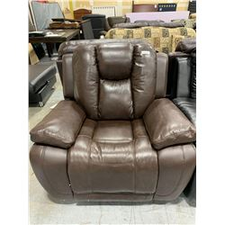 Brown Leather Overstuffed Power Recliner