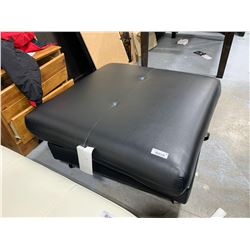 Black Leather Storage Ottoman ( top is crooked)