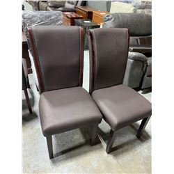 Brown Leather Dining Chair - sold per chair x 2 must take both