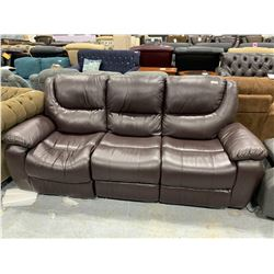 Brown Leather Triple Seat Reclining Sofa ( one seat has loose springs)