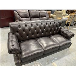 Leather Studded Back 3 seat Sofa. (no legs and scuff on corner)