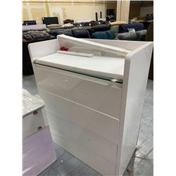 White 4 drawer glass top chest