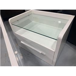 White single drawer glass top night stand