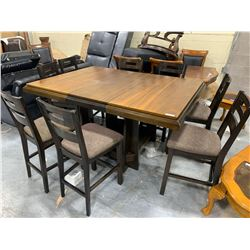 Floor Model Tall dining Table with 8 matching Stools