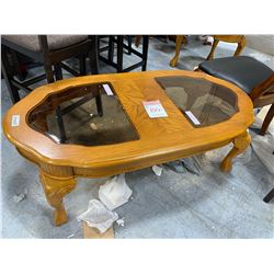 Oak Oval Glass top Coffee Table