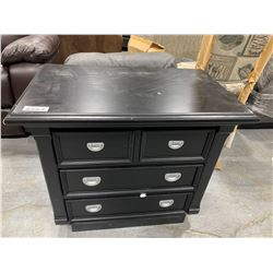 Dark 4 drawer bed site table, floor model, has small scuffs on edge
