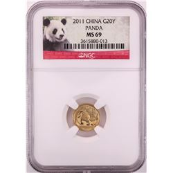 2011 China 20 Yuan Panda Gold Coin NGC MS69