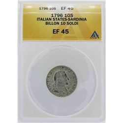 1796 Italian States-Sardinia 10 Soldi Coin ANACS XF45
