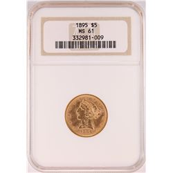 1895 $5 Liberty Head Half Eagle Gold Coin NGC MS61