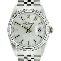 Rolex Men's Stainless Steel Silver Index 36MM Diamond Datejust Wristwatch