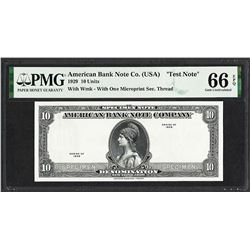 "1929 10 Unit American Bank Note Co. ""Test Note"" PMG Gem Uncirculated 66EPQ"