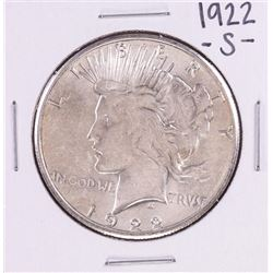 1922-S $1 Peace Silver Dollar Coin