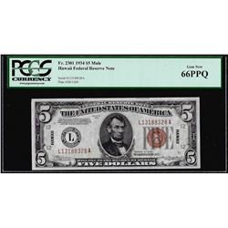 1934 $5 Hawaii WWII Emergency Issue Federal Reserve Note PCGS Gem New 66PPQ
