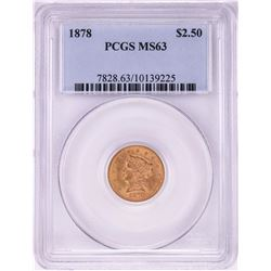 1878 $2 1/2 Liberty Head Quarter Eagle Gold Coin PCGS MS63