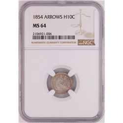 1854 Arrows Seated Liberty Half Dime Coin NGC MS64