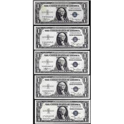 Lot of (5) 1935A/B/C/D $1 Silver Certificate Notes