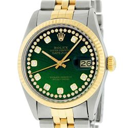 Rolex Men's Two Tone Stainless Steel & Gold Green String Diamond 36MM Datejust Watch