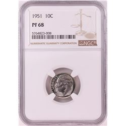 1951 Proof Roosevelt Dime Coin NGC PF68
