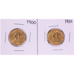 Lot of 1900-1901 Great Britain Sovereign Gold Coins