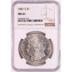 1881-S $1 Morgan Silver Dollar Coin NGC MS61 Great Toning