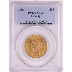 1907 $10 Liberty Head Eagle Gold Coin PCGS MS63
