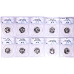 Lot of (10) 2020-W American Samoan Fruit Bat V75 WWII Quarters ANACS MS65