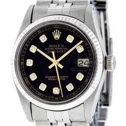 Rolex Men's Stainless Steel 36MM Black Diamond Datejust Watch